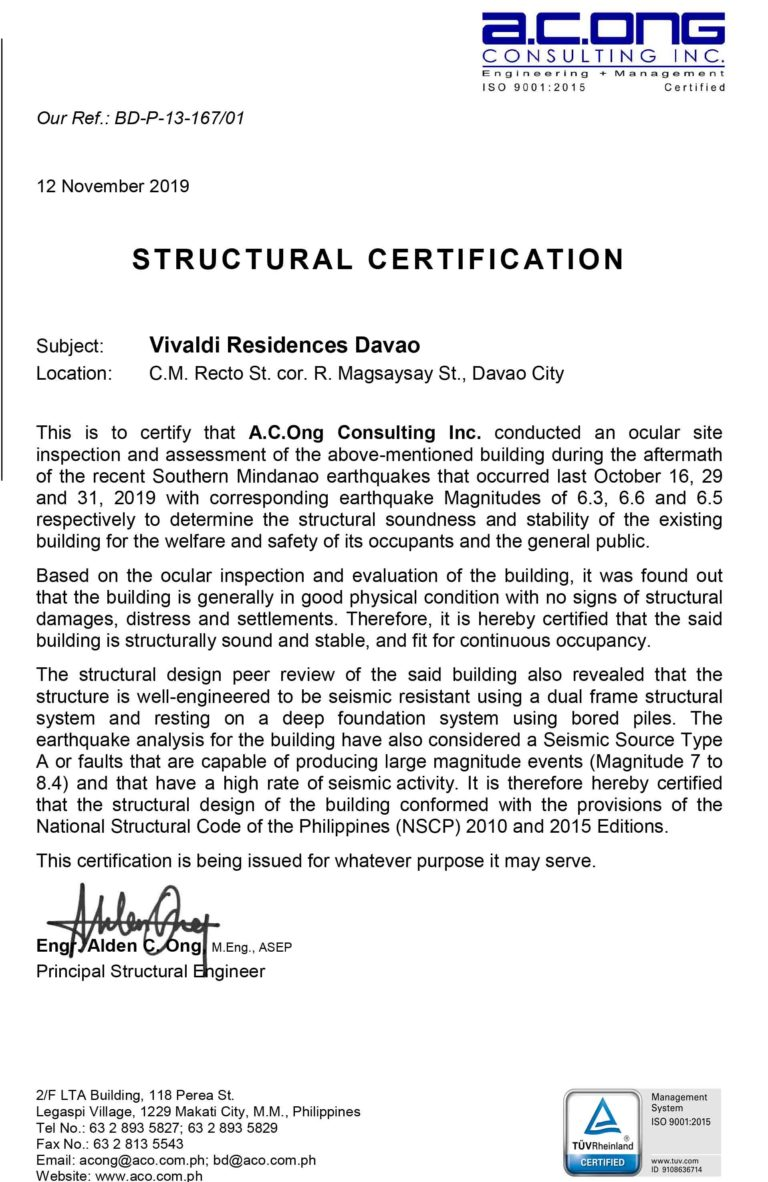 Structural Certification for Vivaldi Residences Davao