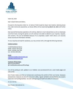 Euro Towers Official Statement for Vivaldi Residences Davao regarding Covid-19