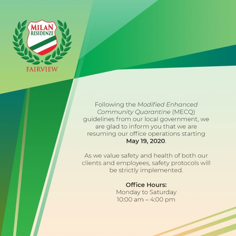 Milan Residenze Fairview resumption of Office Operations