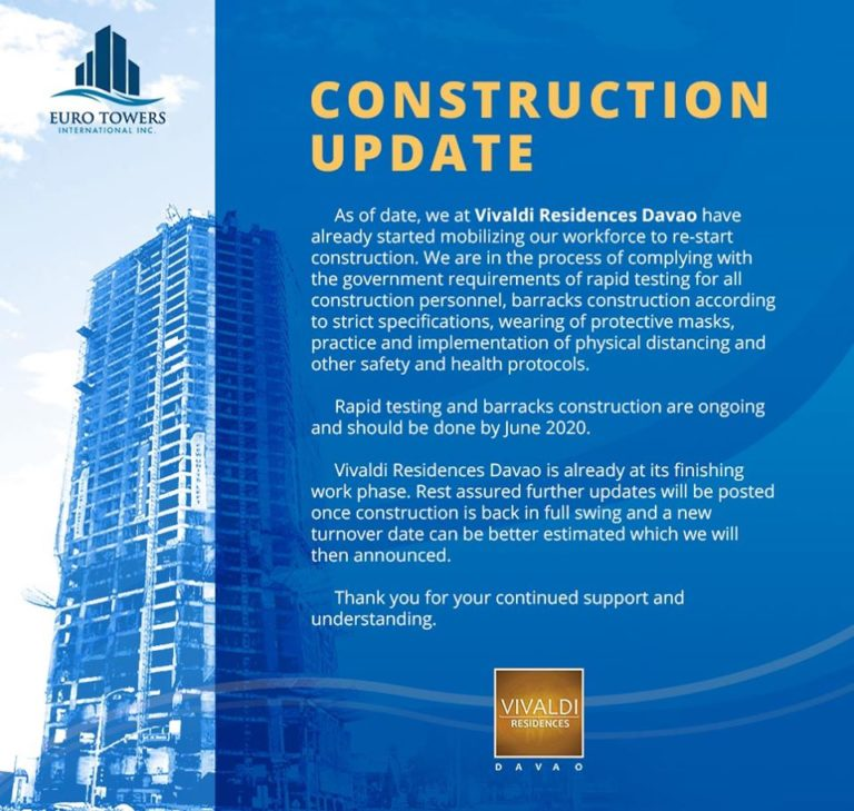 Vivaldi Residences Davao Construction Update