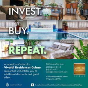 Enjoy additional discounts and many more for our Repeat Buyers here in Vivaldi Residences Cubao!