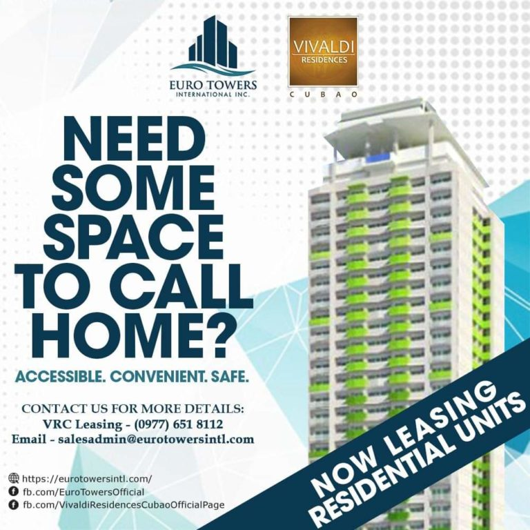 Residential units for Lease! Here at Vivaldi Residences Cubao!