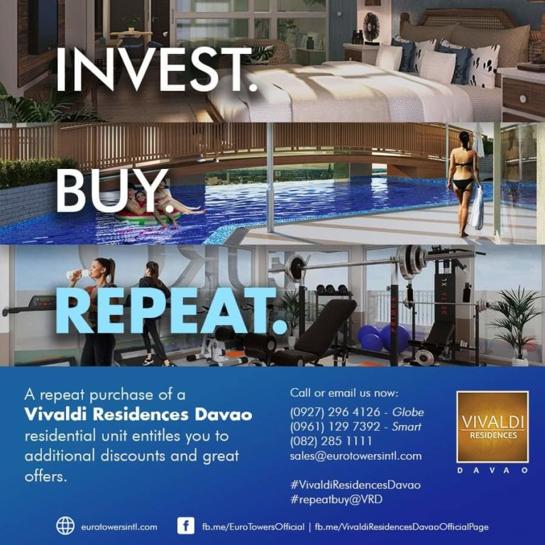 Invest. Buy. Repeat! Additional discounts and great offer for Vivaldi Residences Davao's repeat buyers!