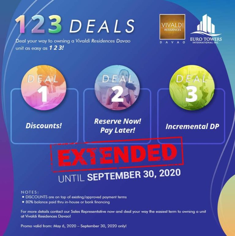 Discounts, Pay later and many more great offers from Vivaldi Residences Davao! Promo extended until September 30, 2020!