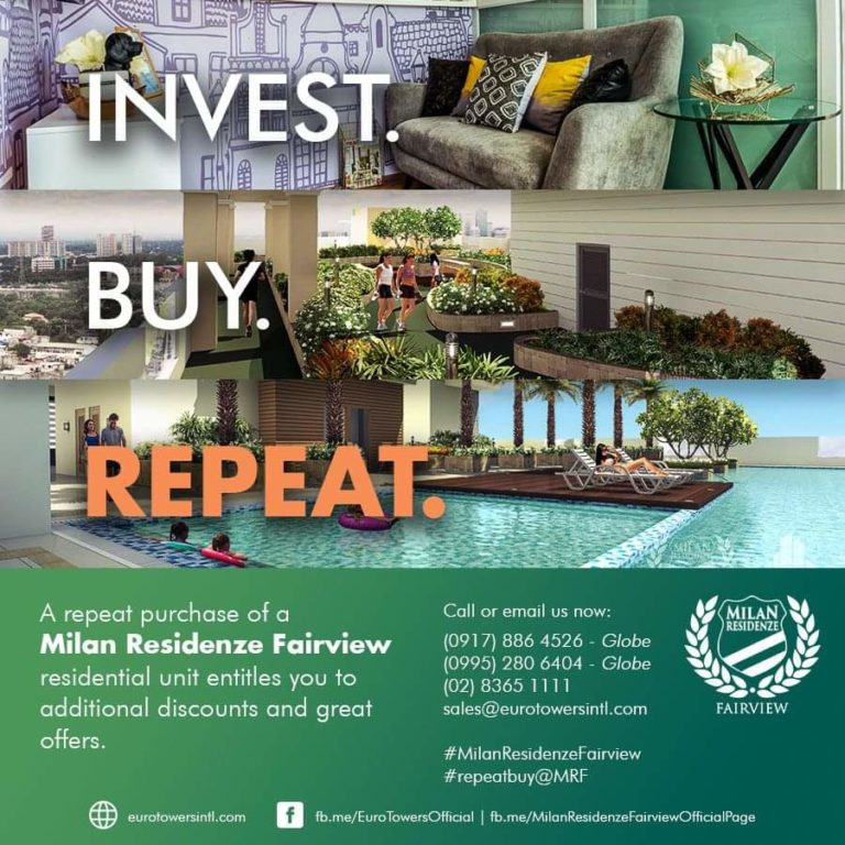 Additional discounts and more great offers awaits for the repeat buyers of Milan Residenze Fairview!