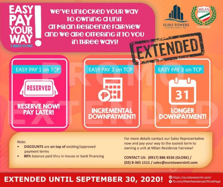 Easy pay your way! 3 easy pay steps to owning your Milan Residenze Fairview unit is extended until September 30, 2020!