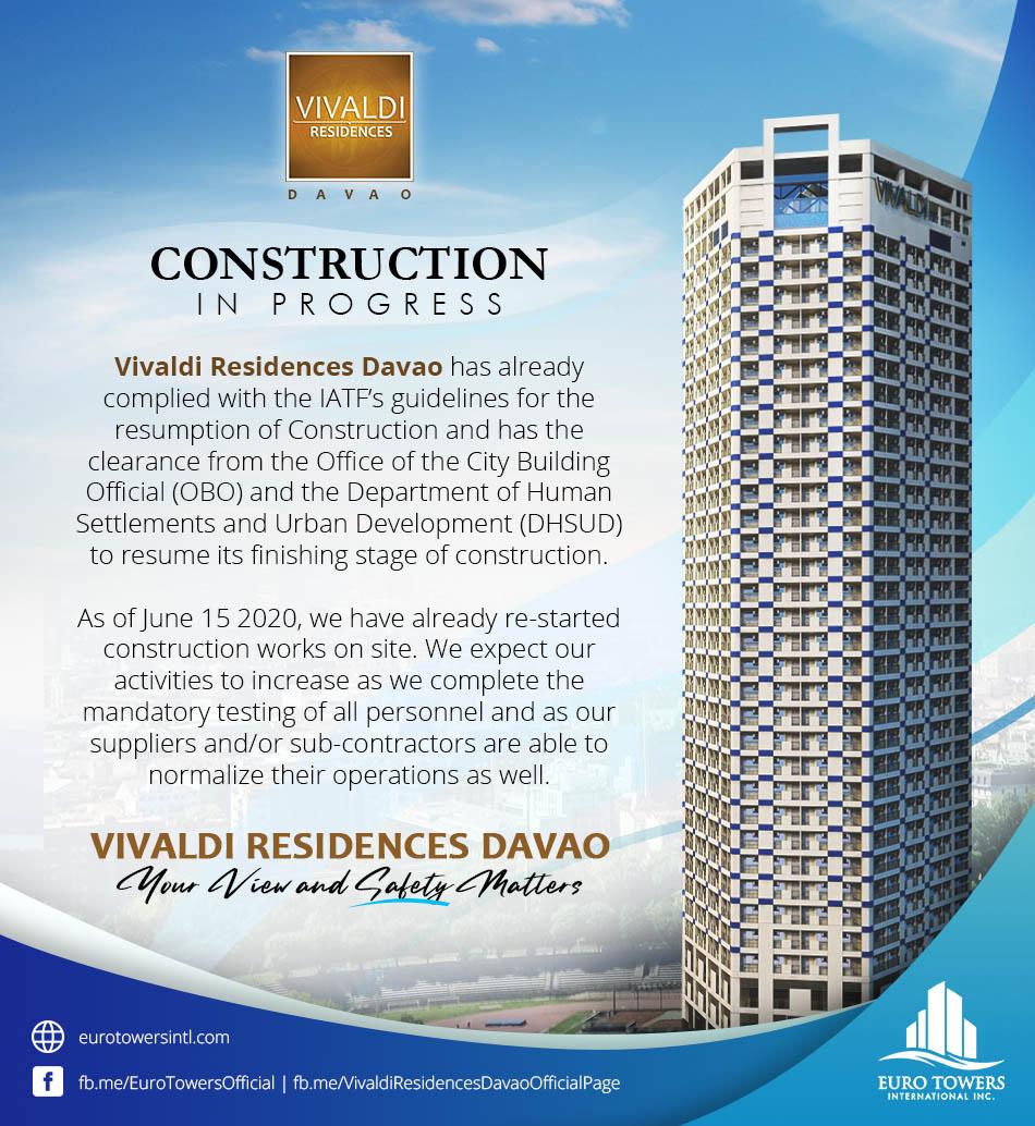 Construction in progress for Vivaldi Residences Davao!