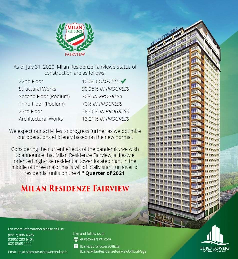 Milan Residenze Fairview construction update as of July 31, 2020