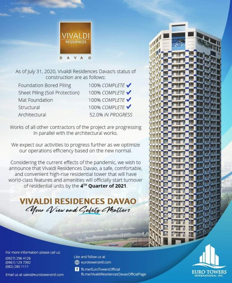 Vivaldi Residences Davao construction update as of July 31, 2020